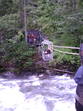 Mountain biking creek crossing